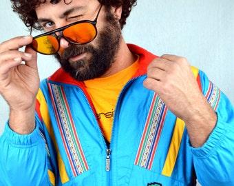 Vintage 80s Rainbow Windbreaker Jacket Coat - Head