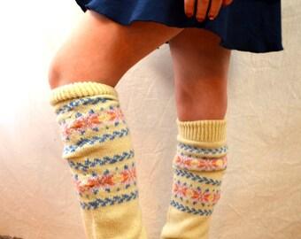 Vintage 80s Geometric Knit Leg Warmers