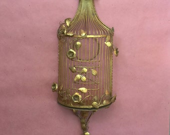 Vintage Italian Gilt Tole Floral Rose Birdcage Wall Scone