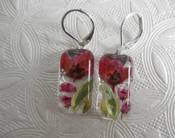 Pink Boronia,Pink Heather,Moon Shadow Euonymus,Sweet Yellow Clover Pressed Flower Glass Rectangle Leverback Earrings-Symbolizes Admiration