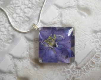 Blue Purple Ombre Larkspur Pressed Flower Diamond Shape Glass Pendant-July Birth Flower-Nature's Art-Symbolizes An Open Heart-Gifts Under 30