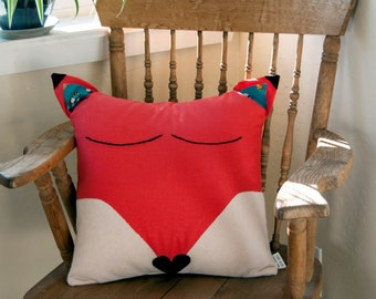 Sleepy Fox Pillow Cover / Children's Decor / Nursery / Fox / Applique Pillow Cover / Gender Neutral / Child's Pillow Cover / Christmas Gift