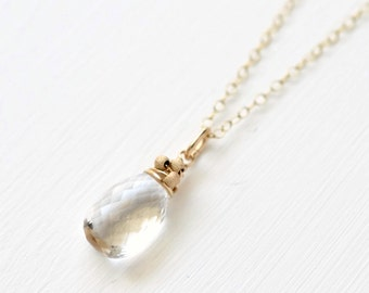 Crystal Quartz Necklace / Gold Fill Quartz Pendant / Delicate Clear Quartz Necklace / Wire Wrapped Briolette Pendant