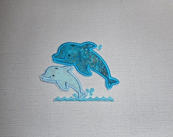 Free Shipping Ready to Ship Dolphin Fabric iron on applique