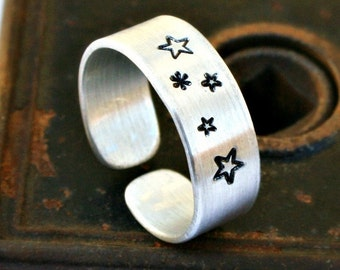 STARS Aluminum Ring, Handcrafted, Brushed Matte Finish, Adjustable, Lightweight, Hypoallergenic, Design Stamps, Can be Customized