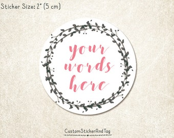 """30 custom stickers, watercolor charcoal wreath, 2"""" round, personalized with your words, envelope seals, wedding stickers  (S-136)"""