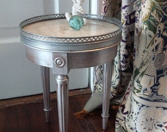 Table Le Petite Round Side Accent Table Marble Top Vintage Poppy Cottage Painted Furniture Metallic