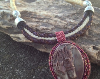18 Inch Multi-Strand Sorrel and Cream Horse Hair Braided Horsehair Necklace With Carved Agate Mare & Foal Pendant