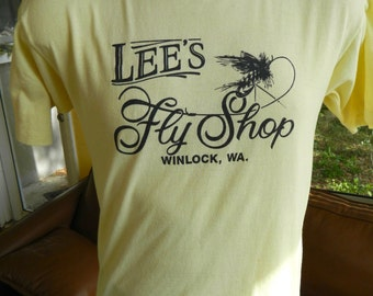 Lee's Fly Shop Winlock Washington 1980s vintage tee shirt - yellow size medium