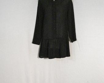 Black Sheer Bohemian Mod Goth Judy Knapp Vintage Tunic Mini Dress ML