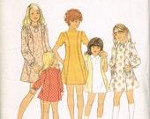 Cute 70s Girls Dress Pattern Style 4477 Size 7 Breast 26 Long or Short Sleeved Paneled Dress Pattern Vintage 1973 Sewing Pattern
