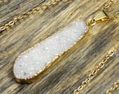 Large White Druzy Necklace, White Druzy Pendant, Druzy Jewelry, Druzy Gold Necklace, Natural Druzy, Druzy Stone, 14k Gold Fill Chain