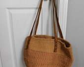 Vintage 80s Rope Basket Bag Woven Oversized Beach Tote Purse boho hippie natural tan neutral brown leather round bucket summer handbag