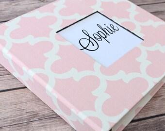 Baby Book, Baby Gift, Baby Album, Baby Memory Book, Baby Keepsake, Modern Baby Book, Pink Quatrefoil