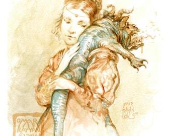 Burp (print)- dragon, monster, baby shower, mother and child, fantasy art, funny, artwork, illustration
