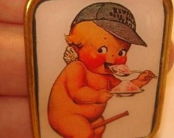 Vintage Jewelry Kewpie Doll Eating ice Cream  Brooch KL Design