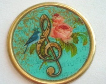 Flower and Music Brooch