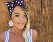 Patriotic Red White Navy Blue July 4th Stars Vintage Pinup Rockabilly Dolly Bow Girls Fourth Headband Headscarf Bandana Hair Band Head Cute