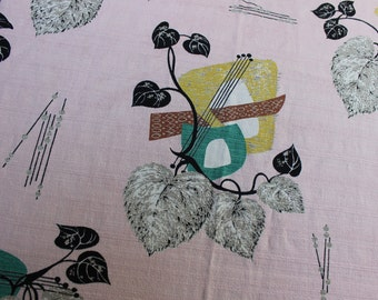 Barkcloth Curtain Panel Abstract Mid Century Modern Atomic Pink VINTAGE by Plantdreaming