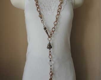"45"" Long Heavy Copper Twisted LLC Chain and Crystal Belt. Vintage Adjustable Large Heavy Linked Chain Necklace"
