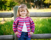 Girls Striped Cardigan -- Baby Sweater -- Pink, Blue, and Lavender Baby Sweater -- QUEBEC STREET -- Hand Knit Sweater -- Children's Clothing