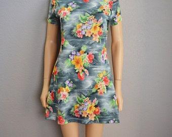 Tropical Print Dress 90s Dress Mini Dress Short Sleeve Gray Dress With Floral Print 90s Clothing Epsteam