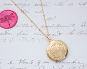 Vintage 2 Photo Asian Design Locket w/C Monogram Initial Gold Filled Necklace - Ready to Ship