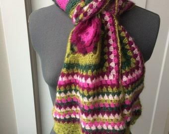 Silk & Mohair Floral Crochet Scarf