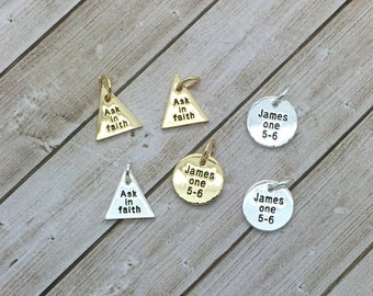 LDS youth theme, 2017 charms,  Ask in Faith charm, James 1:5, faith nothing wavering, gold or silver charms LDS Young Women's jewelry,