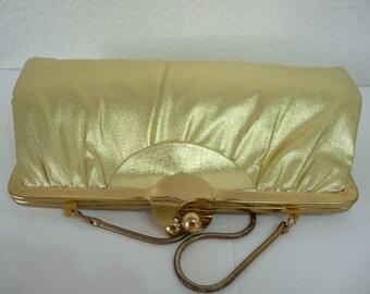 Gold Clutch Handbag,  gold strap, Vintage purse Metallic Formal Evening bag