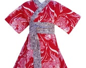Kimono Dress in RED DRAGON Yukata Modern Kimono Girls Baby Toddler Japanese Asian