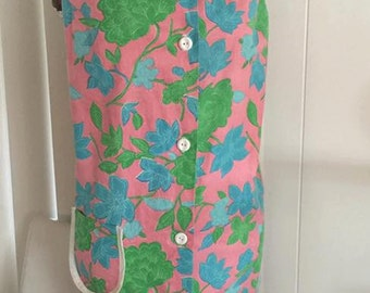Vintage 1960's House Dress Shift in Pinks and Blues -- Size M-L