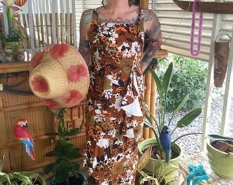 Gorgeous Vintage 1950's Tropical Sarong Sun Dress -- Size M  - Hawaiian - Tiki