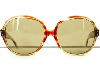 60s Sabaya Sunnies Sunglasses Women's Vintage 1960's Brown & Yellow Large Frames #M52