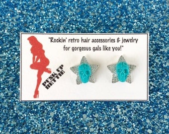 Psycho Lucky Skulls and Sparkly Stars Earrings - Turquoise - Rockabilly - Retro - Psychobilly - Punk