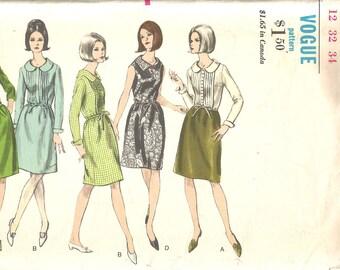 Vintage Early 60s Dress Pattern s xs 32 bust Day Dress Shirtwaist Vogue 6541
