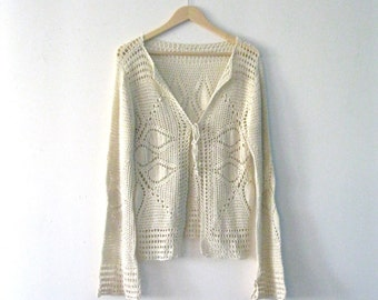 Vintage crochet sweater / bell sleeves starburst crochet Festival cardigan sweater / Hippie Boho sweater