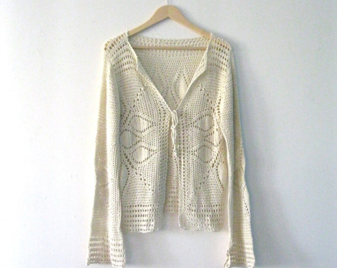 Vintage crochet sweater / bell sleeves starburst crochet Festival cardigan sweater / Hippie Boho sweater