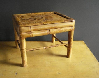 Mini Bamboo Stool - Vintage Bamboo Stepstool or Plant Stand or Mini Bathroom Bench