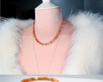 Opal Necklace, Welo Ethiopian Opal, Peach Pink Smooth AAA Rondelle Gemstones, 24K Gold Vermeil Bali Beads, Romantic, Feminine, Opal Jewelry
