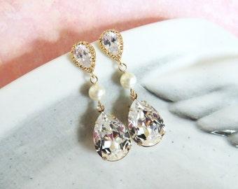 Reine - Champagne Gold Crystal Earrings, Bridal Wedding Earrings, Bridesmaid Earrings, Swarovski Crystal Drops, Pearl