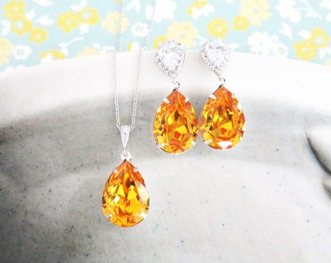Sandra- Sunflower Yellow Swarovski Crystal Teardrop Cubic Zirconia Teardrop Earrings Necklace Set, Bridesmaid Bridal Jewelry Wedding