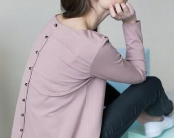 Loose blouse | Back button blouse | Dusty pink blouse | LeMuse loose blouse