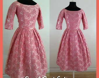 50s Dress Brocade Gown Fit and Flare Princess Dress 1950s Dress Pink Silk Brocade Dress, XXS