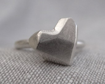 heart stack ring - faceted heart