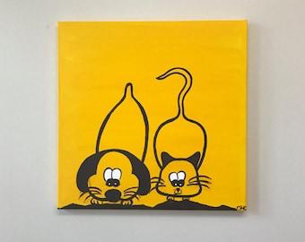 SALE Dog & Cat Painting // Cartoon Art // Custom Acrylic Canvas // Children's Decor // Pet Lovers Gift // Puppy Kitten Gift // Family Gift