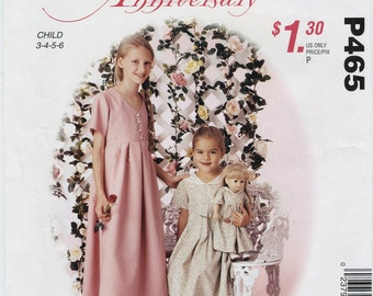 """Old Fashion Girl's & Doll's Dress Sewing Pattern Child Size  3 4 5 6 Doll Size 18"""" McCall's P465 UNCUT Vintage Style Modest Matching Dresses"""