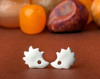 Hedgehog Earrings Hedgehog studs sterling silver kids jewelry cute woodland jewelry animal earrings