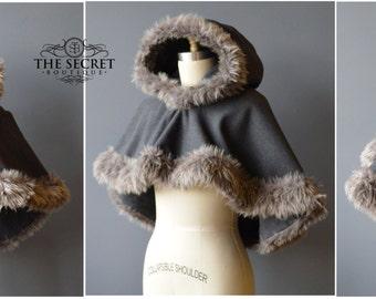 capelet-faux fur-viking-bride-winter-cape-alternative-the secret boutique-fairytale-steampunk- cape-goth-high fashion-cosplay-comic