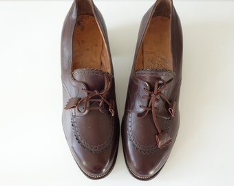Nancita brogues | Chocolate leather oxford heels | 1940's by Cubevintage | size 6